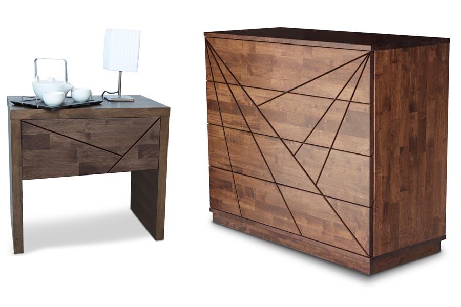 Noční stolek SPOSA drážky a komoda COLLINA drážky