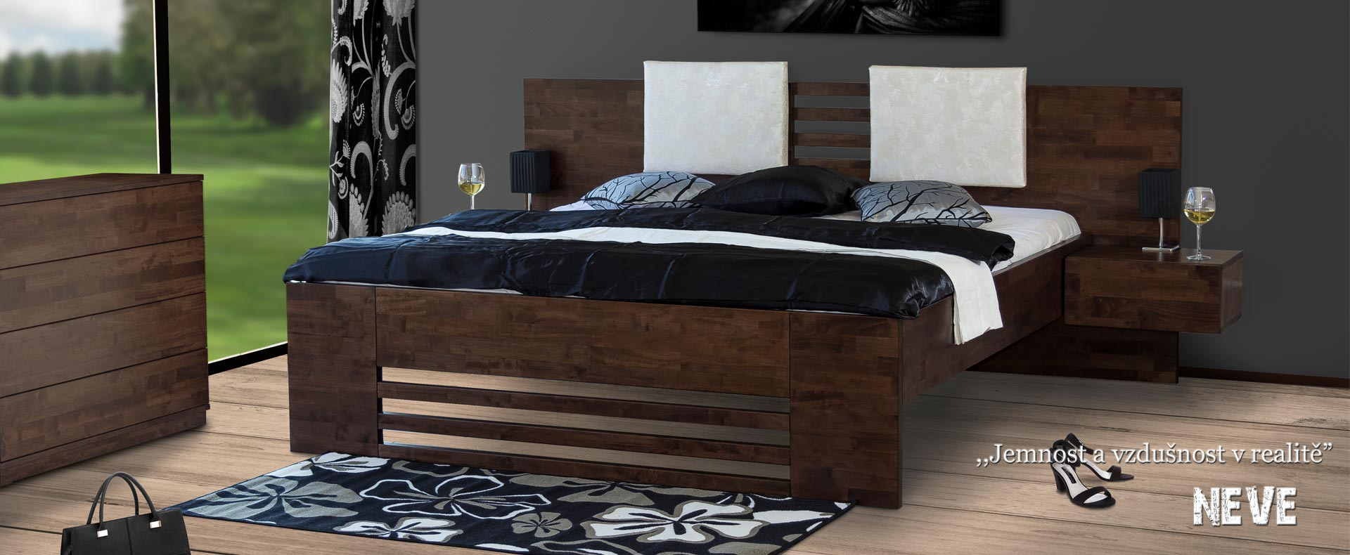 Masivní postel model NEVE