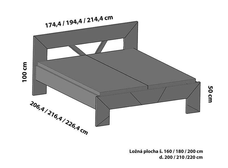 Varianta čela ST2 postele SPOSA