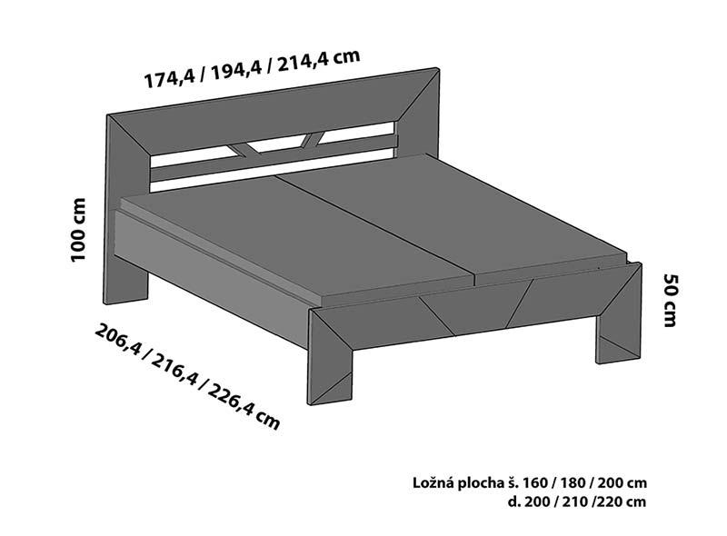 Varianta čela ST3 postele SPOSA